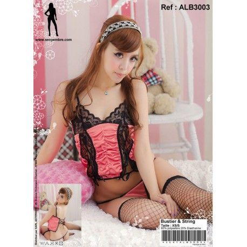 Bustier&String noir et rose XS/S