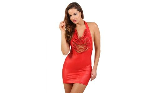 Robe Wet Look rouge rivets S-M