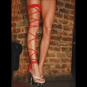 Bas EL TWISTED LEG GARTER rouge