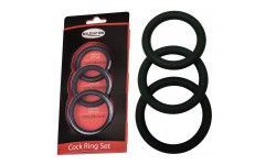 Set 3 cockrings noir 40-45-50mm en Silicone