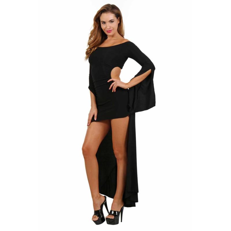 Robe noire asymétrique sexy S-L